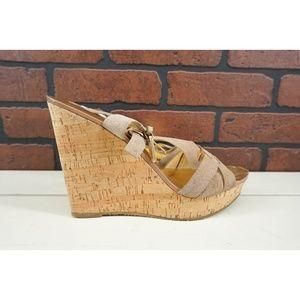 MICHAEL MICHAEL KORS Suede T-strap Wedge Sandals 9